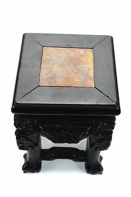 """Chinese Rosewood 19th century Carved 8"""" Miniature Stand w/Marble top"""
