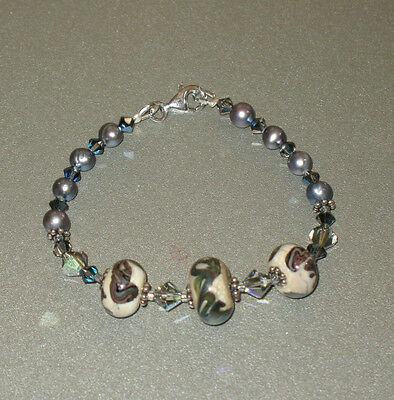 Lampwork Beads and Silver Pearl Bracelet