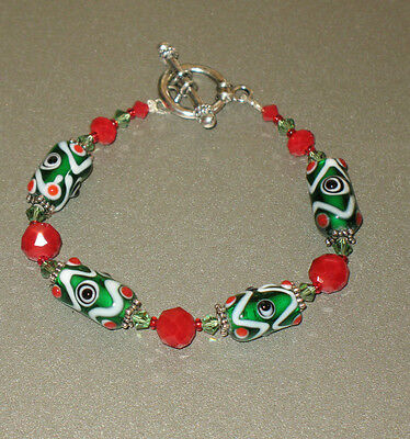 Green Glass Bead & Red Crystal Bracelet