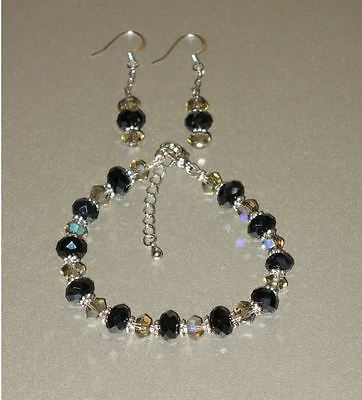 Black and Clear Crystal Bracelet and Earrings Set