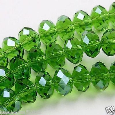 A4x6mm Green Crystal Gemstone Loose Beads 95pcs