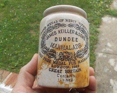 James Keiller & Sons Dundee Marmalade 1873 Pottery Jelly Jar Dug In 1880 Pit