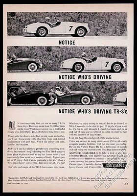 1961 Triumph TR3 TR-3 race car roadster coupe photo vintage print ad