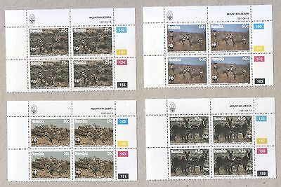 Namibia 1991 WWF Mountain Zebra Blocks of Stamps MNH