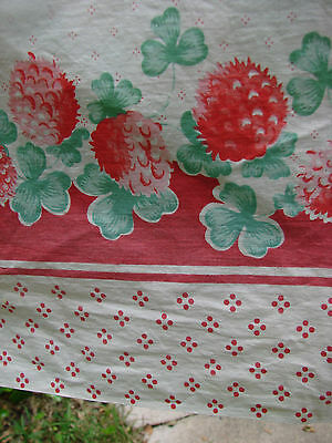 Vintage 40s Fabric Cotton Border Print RED CLOVER Floral 4 yd