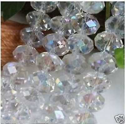 Hot 4x6mm White Crystal Gemstone Loose Beads 95pcs/AAA4