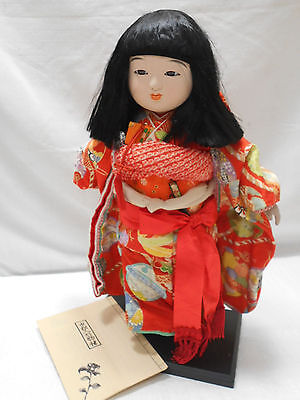 Japanese Porcelain Doll on stand GEISHA GIRL with Glass Eyes #73