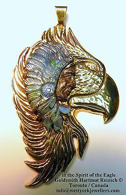 Eagle Pendant 14 KT Gold Blue Opal Carving Tribal Chieftain