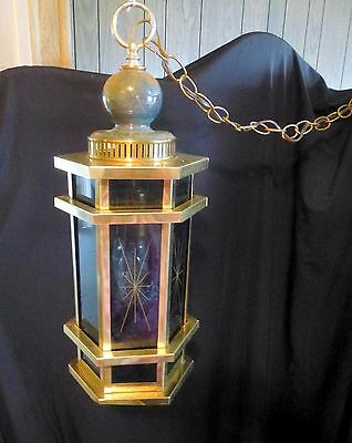 Vintage Pendant Light Brass SWAG LANTERN Mid Century Sunburst Works - A Beauty!