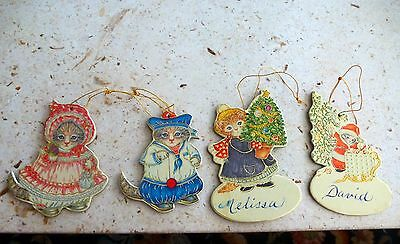 Vintage Cardboard Die-Cut Kitty Cucumber Cat Christmas Ornaments Set/4