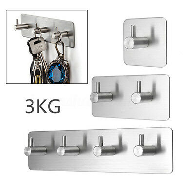 Stainless Steel 3KG Self Adhesive Sticky Hook Key Rack Towel Hanger Wall Mount