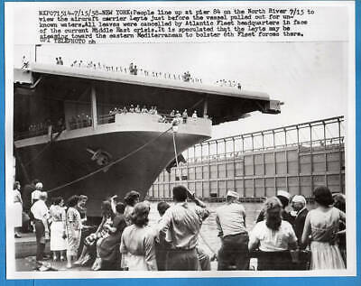 1958 Carrier CVA-32 USS Leyte Heading to Middle East Original Telephoto Press