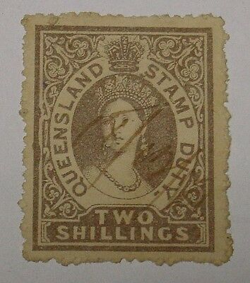 Queensland. 2/- 1880 Stamp Duty, used, scarce.