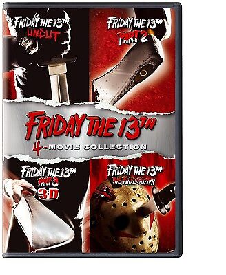 Friday The 13Th 1 2 3 4 Dvd Set 4 Disc 4 Movie Collection With 3D Glasses R1 1-4