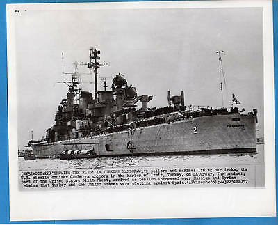 1957 Guided Missile Cruiser CAG-2 USS Canberra at Izmir Turkey Press Wirephoto
