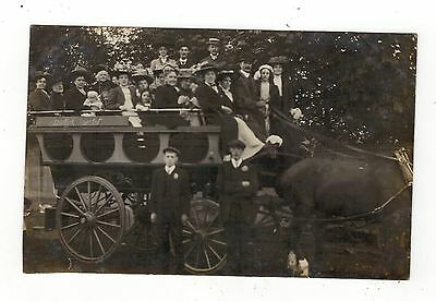 Edwardian Horse Drawn Charabanc. Old Real Photo Postcard.