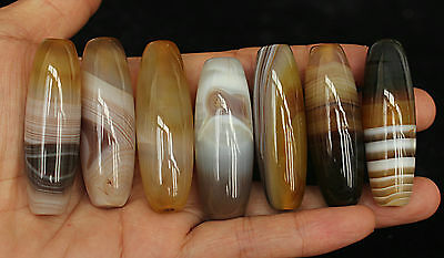 141g 7Pcs Banded Eyed Nepal Indo Tibet Agate Old Bead Amulet for Gift