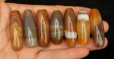 83g 7Pcs Banded Eyed Nepal Indo Tibet Agate Old Bead Amulet for Gift