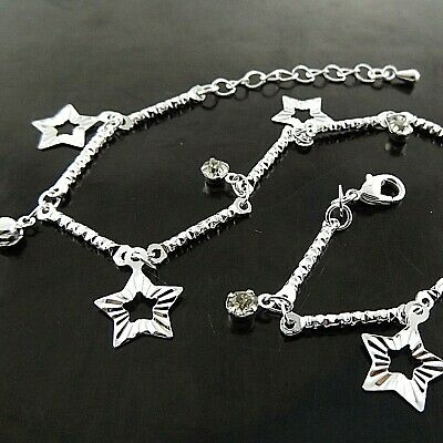 Anklet Bracelet Real 925 Sterling Silver S/F Star Simulated Diamond Bead Design
