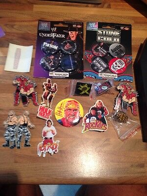 Retro WWF/WWE Wrestling Pin Badges X 18 Rockers undertaker , hulk hogan 1990s