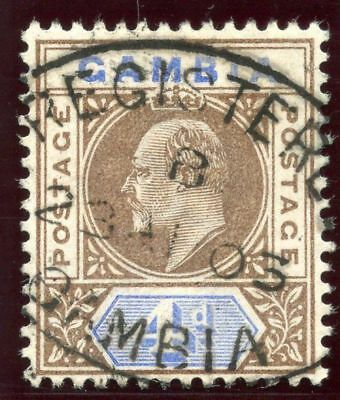 Gambia 1902 KEVII 4d brown & ultramarine very fine used. SG 50. Sc 33.