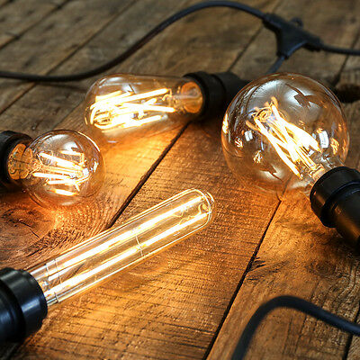 Dimmable Golden Vintage Filament Style LED Festoon Bulbs E27 | Globe Christmas