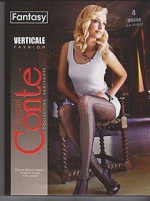 Conte Fishnet Fantasy Tights Pantyhose VERTICALE Size L (4) Color Mocca