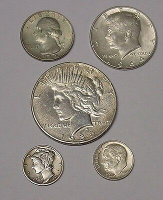 Five different USA coin types, including silver dollar, 1930s-1960s.