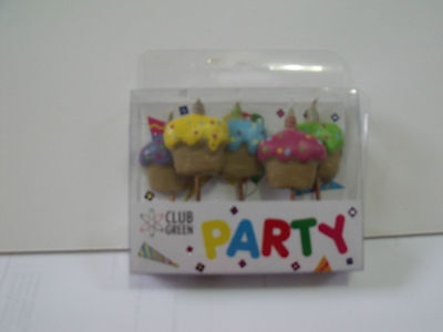 CLUB GREEN Party Candles - CUPCAKES - ** Bulk Sale - (6 packs x 5 candles) **