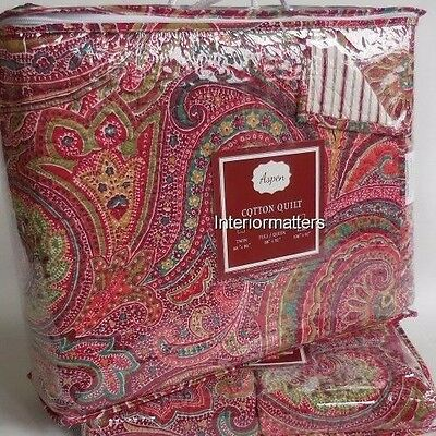 PAISLEY 3PC Queen QUILT SHAM SET 100% COTTON red green teal NEW