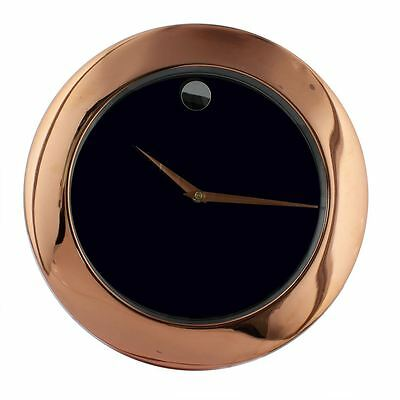 William Widdop Rose Gold Metal Finish Plain Dial 34cm Wall Clock