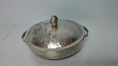 Vintage Mid Century Hammered Aluminum Covered Serving Bowl Dish Tulip Handle Lid