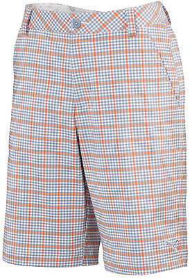 Puma Plaid Tech Mens Golf Shorts - Orange