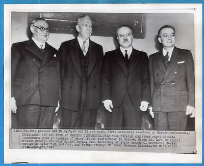 1947 Moscow Conference Foreign Ministers Molotov George C. Marshall  Wirephoto