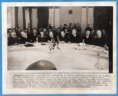1947 Moscow Conference Russian & American Delegation Original Wirephoto
