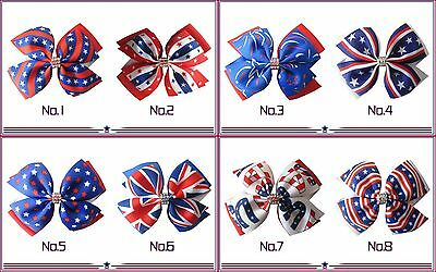 "20 BLESSING Good Girl 4.5"" Double Wing Hair Bow Clip National Flag Accessories"