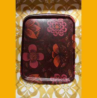 VINTAGE RETRO FIBREGLASS GAYDON LARGE SERVING TRAY PSYCHEDELIC 60s 70s FLOWERS