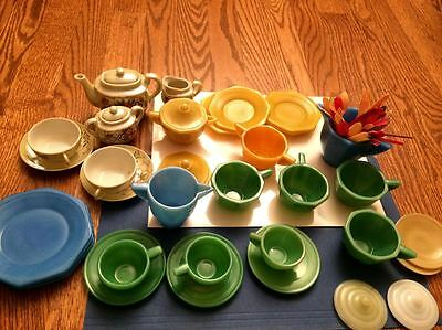 1940-50s Akro Agate Children's Glass Dishes Variety of Colours plus Lusterware