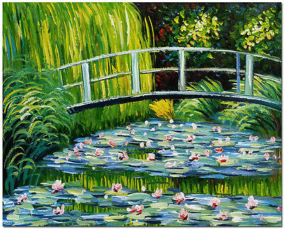 Bridge over Water Lily Pond - Hand Painted Claude Monet Oil Painting On Canvas
