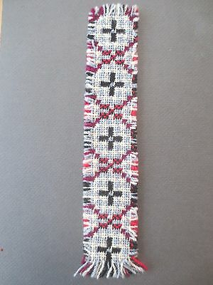 Vintage BOOKMARK Welsh Woven Wool Red Grey Cream Black Traditional Pattern