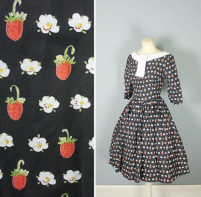 50s ORIGINAL VINTAGE WILD STRAWBERRY BERRY PRINT FULL SKIRT SUMMER DRESS XS  UK8