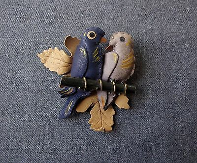 Vintage Artisan Crafted Leather Metal & Wooden Birds On A Branch Large Pin