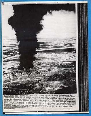 1966 Vietnam Petroleum Supply Deport Bombed at Hanoi Original Wirephoto