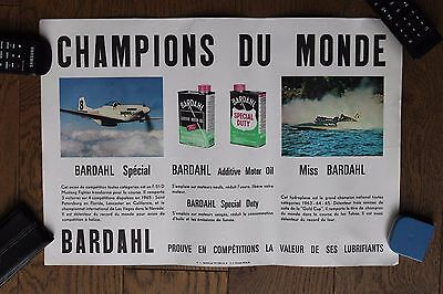 (B) Original vintage poster affiche BARDAHL F-51D Mustang Fighter / Hydroplane