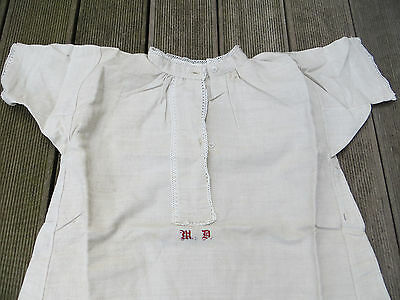 Antique German Handwoven Linen Night Dress Night Gown Night Shirt Unworn Mono MD