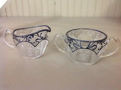 Vintage Antique Cut Etched Glass Silver Overlay Cream And Sugar Set