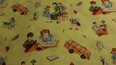 Vintage  Kids In School  Fabric From The Our Family Collection 100% Cotton Bty