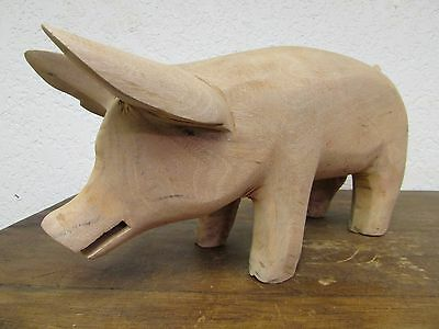 Hand Carved Mesquite Pig #2 -Mexican Folk Art-16x9x5 inches-Cute-Handmade-Wood