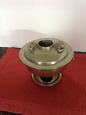 Vintage Authentic Korean Small Tabletop Cooker With Bottom Plate Brass