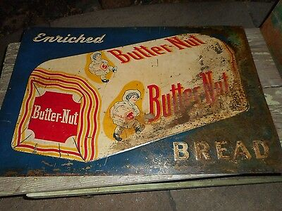 Vintage ORIGINAL Tin BUTTER NUT Bread Advertising Metal Sign - GREAT PATINA